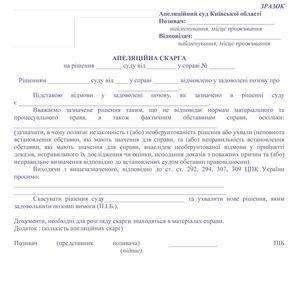 апелляция в гражданском процессе образец
