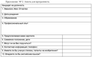 анкета соискателя при приеме на работу образец